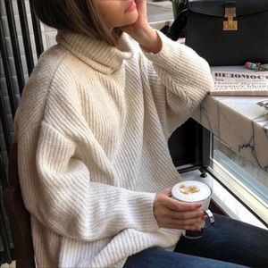 Zara Blogger Oversized Knit Sweater Grey Ribbed M